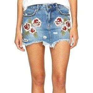 Free People Rose Embroidered Denim Skirt Women 26